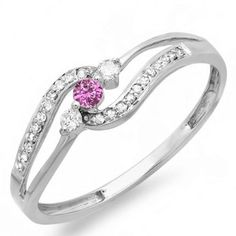 18K White Gold Pink Sapphire And White Diamond 3 stone Engagement Promise Ring *** Check this awesome image  : Promise Rings Jewelry