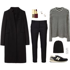A fashion look from November 2013 featuring striped t shirt, tuxedo coat y pleated pants. Browse and shop related looks.