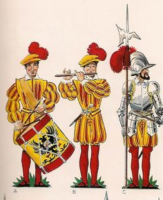 Spanish; Infantry in the reign of Charles I(1518-56). Drummer Fifer & Sergeant