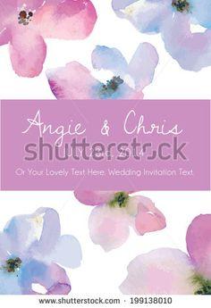 Watercolor Wedding Invitation Vector Template - stock vector