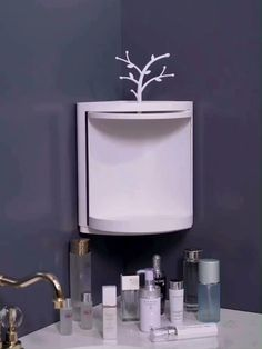 This corner triangle rotating shelf is suitable for bathroom storage, kitchen storage, toiletries storage and makeup storage. If you need more room for your gadgets, stack two shelves Corner Storage Shelves, Diy Kitchen Storage, Small Bathroom Storage, Home Decor Kitchen, Bathroom Organization, Diy Storage, Small Bathrooms, Makeup Storage Wall, Corner Shelf Design