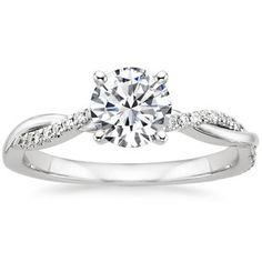 Platinum Petite Twisted Vine Diamond Ring