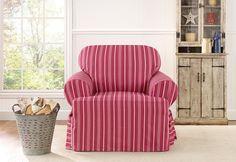 Sure Fit Slipcovers Grain Sack Stripe One Piece T-cushion Slipcovers - Chair T-cushion