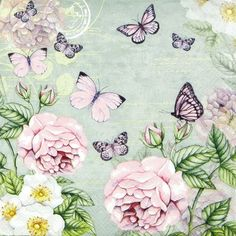 4x Single Table Paper Napkins for Party Decoupage Craft  Botanical Rose Mint