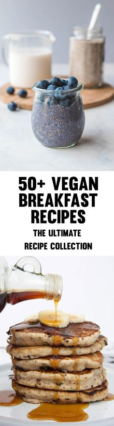 50 Vegan Breakfast Recipes - The Ultimate Recipe Collection (pancakes waffles sandwiches burritos chia pudding breakfast bars tofu scramble and so much more! Vegetarian Breakfast, Delicious Vegan Recipes, Healthy Breakfast Recipes, Vegan Vegetarian, Vegetarian Recipes, Yummy Food, Plant Based Breakfast, Breakfast Bars, Breakfast Burritos