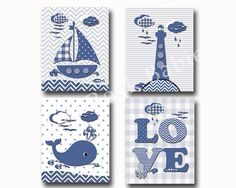 Nautical nursery decor custom baby boy room art by PinkRockBabies