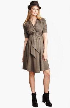 Maternal America Front Tie Maternity Dress | Nordstrom $148 I'd want to add some color to this one....