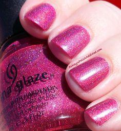 China Glaze Hyper Haute - subtle linear holographic raspberry.  lovee!