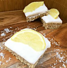 Think bliss ball but EVEN BETTER. At only 150 calories per slice, it& a perfect snack. This lemon and coconut slice, is fresh and zesty - just yummy! Healthy Mummy Recipes, Healthy Sweets, Healthy Baking, Healthy Snacks, Baking Snacks, Paleo Treats, Healthy Protein, Protein Snacks, Baking Recipes