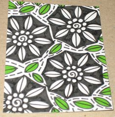 Original Pen and Ink Drawing ACEO Black and White Flowers Green Leaves Design