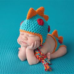 Crocheted Baby Boy Dinosaur Outfit Newborn Photography Props Handmade Knitted Photo Prop Infant Accessories H271 #newbornbabyphotography