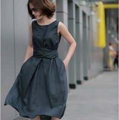 Black high quality women's linen dress
