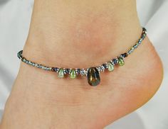Anklet, Ankle Bracelet, Golden Aqua Quartz Teardrop Blue Gold Copper Brown Beaded Anklet Ankle Jewelry Beach Vacation Jewelry Summer Jewelry