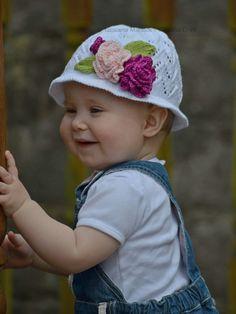Knitting Pattern  Rose Scent Panama Hat Baby and by ViTalinaCraft #panama #hat #lace #knitting #rose #etsy #loveknitting #cotton