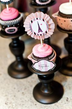 Cupcake toppers for Parisian themed girls night party