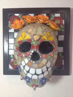Colorful Day of the Dead Mosaic Wall Hanging by Clark-Camargo ©newstoneagemosaics2013