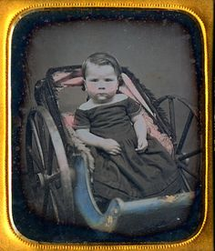 1 6 Daguerreotype Young Boy Seated in A Blue and Pink Tinted Baby Carriage…