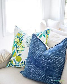 Lemon and citrus pillows paired with these pretty hand-dyed blue pillows make for the perfect summer decor! Paint Colors For Living Room, Living Room Decor, Blue Pillows, Throw Pillows, Beautiful Home Gardens, Striped Rug, Guest Bedrooms, Home Decor Trends, House Tours