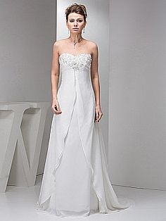 Beaded Strapless Chiffon Wedding Dress with Flowing Overlay - USD $148.00