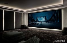 Screen Excellence :: Home Cinema Acoustic Transparent Screens Home Theater Room Design, Movie Theater Rooms, Home Cinema Room, Theatre Design, Small Home Theaters, Paint Your House, Home Movies, Entertainment Room, Villa