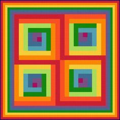 Psychedelic Rainbow cross stitch pattern.