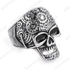 316L Stainless Steel Punk Mens Skull Head Finger Ring US9