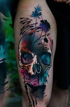 tatuajes de calaveras en la pierna originales