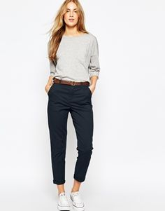 Image 1 of asos chino trousers with belt office attire women casual, smart casual outfit Casual Work Outfits, Mode Outfits, Work Attire, Work Casual, Casual Chic, Casual Wear, Dress Outfits, Casual Dresses, Fashion Outfits