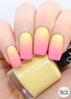 Rimmel - gradient nails ii nails, gel nails и gradiant nails Rita Ora, Diy Nails, Cute Nails, Gel Manicure, Manicure Ideas, Gel Nail, Nagellack Design, Yellow Nail Art, Pink Nail