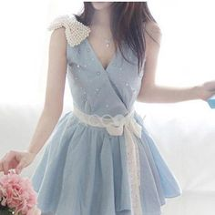 Spring Summer 2013 Pearl Bowknot Fashion Lace Straps Dresses