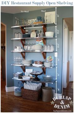 DIY Industrial Restaurant Supply Open Shelving at Home   Burlap & Denim made with ikea shelving http://www.ikea.com/us/en/catalog/products/20031289/#/20057000