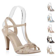 10cm Damen Sandaletten Riemchenschuhe High Heels 71107 Pastell Gr. 36-41 New Look