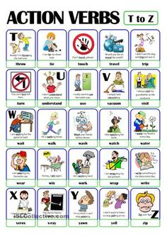 This is the fifth and last worksheet of the ACTION VERB set. It includes verbs from t) to z). Grammar For Kids, Teaching English Grammar, Grammar And Vocabulary, English Vocabulary, Grammar Rules, Vocabulary Games, English Lessons, Learn English, Verbs List