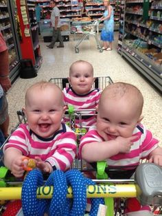 The local branch of Morrisson's even offered to make a three-seater shopping trolley. | The Parents Of These Identical Triplet Girls Paint Their Toenails Different Colours To Tell Them Apart