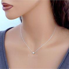 Tiny dot necklace dainty necklace sterling silver by B9studio