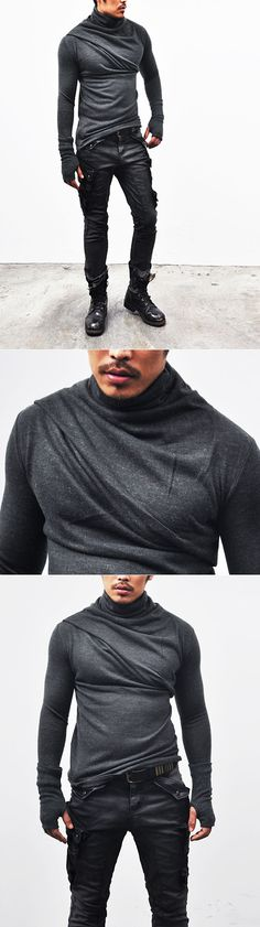 Tops :: Knits :: Black Ready)Avant-garde Bandage Armwarmer Turtle-Knit 32 - Mens Fashion Clothing For An Attractive Guy Look