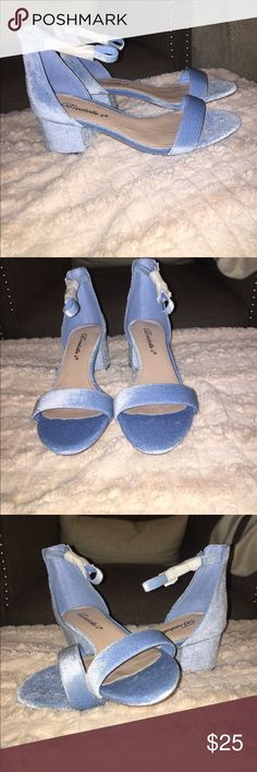 ✨ PRICE DROP✨Velvet sky blue block heel sandals Very cute & very stylish. Never used or worn. Shoes Sandals