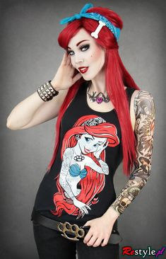 Black tank top Rebel Mermaid Ariel | CLOTHING \ T-shirts