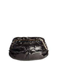 4306d16a00cf9 Judith Leiber Vintage Black Gathered Snakeskin Clutch Shoulder Bag - from Amarcord  Vintage Fashion