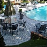 Great example of how using different stamped concrete patterns can help separate backyard areas, like the patio dining area and pool deck featured. Stamped Concrete Patterns, Pattern Concrete, Concrete Texture, Concrete Design, Deck Pictures, Pool Coping, Concrete Pool, Pool Decks, Backyard