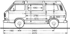 Volkswagen Type 2 VW Vanagon & Features and Specifictions - Engine, Transmission, Dimensions, Cutaway Vw T3 Camper, Vw Bus T3, Volkswagen Type 2, Van Drawing, Transporter T3, Vw Vanagon, Van Design, At Home Gym, Camping