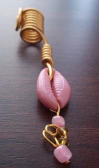 Locs jewelry pink shell with  topaz and pink seed by sweetiebel, $13.50