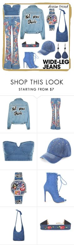 """""""Denim Babe"""" by toddverbose on Polyvore featuring Alice + Olivia, GUESS, Chase & Chloe, Thacker, denimtrend and widelegjeans"""