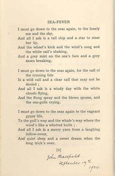 """Sea Fever"" by John Masefield, aka John Edward Masefield (1878-1967), English Poet Laureate from 1930 ...."