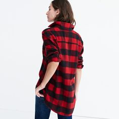 Flannel Oversized Ex-Boyfriend Shirt in Buffalo Check
