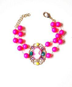 Statement Neon Pink Cameo Bracelet Colorful Fun