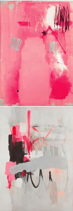 pink and grey abstract art