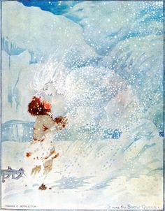 'It was the Snow Queen.' Illustration by Honor Appleton from The Snow Queen - The Golden Age of Illustration Series. #fairytales #hansandersen #snowqueen #vintageillustration