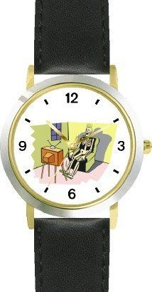 Skeleton Watching Television (TV) - WATCHBUDDY® DELUXE TWO-TONE THEME WATCH - Arabic Numbers - Black Leather Strap-Size-Children's Size-Small ( Boy's Size & Girl's Size ) WatchBuddy. $49.95. Save 38% Off!