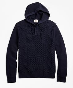 7b5fe7a4e13 Cable-Knit Cotton Henley Hoodie - Brooks Brothers Mens Sweatshirts